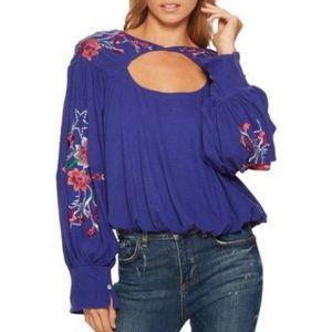 NWT Free People Lita Embroidered Top in Blue Sz M